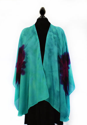 Women's Silk Wrap - Ocean Green and Violet Purple