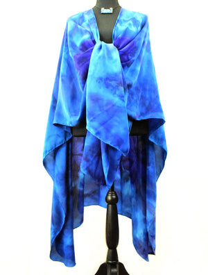 Women's Silk Wrap - Royal Blue, Ceylon Blue and Violet Purple
