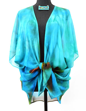 Women's Silk Top - Turquoise and Brown Sierra