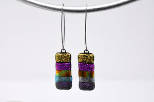 Multi-Colored Metallic Dangle Earrings
