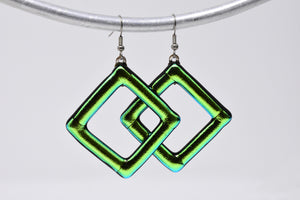 Green Metallic Dangle Earrings