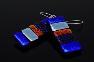 Blue, Red and Silver Dangle Earrings
