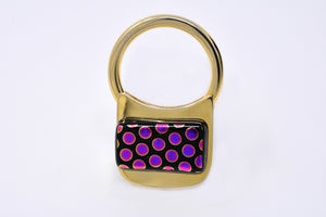 Fuchsia - Black Dots Key Ring