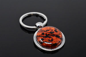 Orange and Black Splatter Key Ring