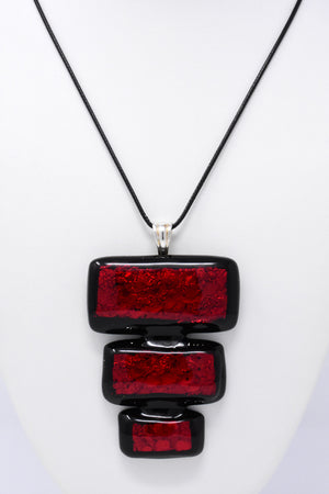 Red and Black Statement Pendant Necklace