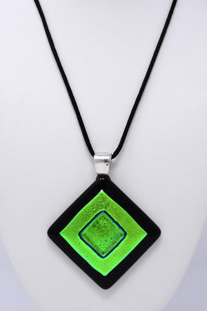 Green - Turquoise - Black Statement Pendant Necklace