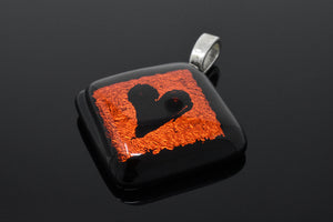 Orange and Black Love Heart Pendant Necklace