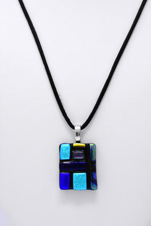 Blue Moire Pendant Necklace
