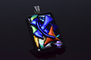 Multi-Colored and Black Shapes Pendant Necklace