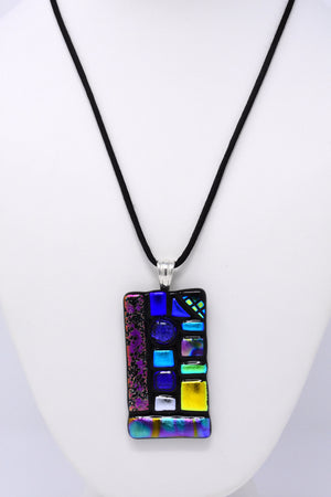 Multi-Colored Stepping Stones Pendant Necklace