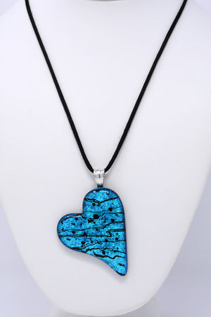 Brilliant Blue and Black Love Heart Pendant Necklace