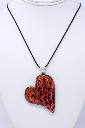 Sunset Orange and Gold Love Heart Pendant Necklace