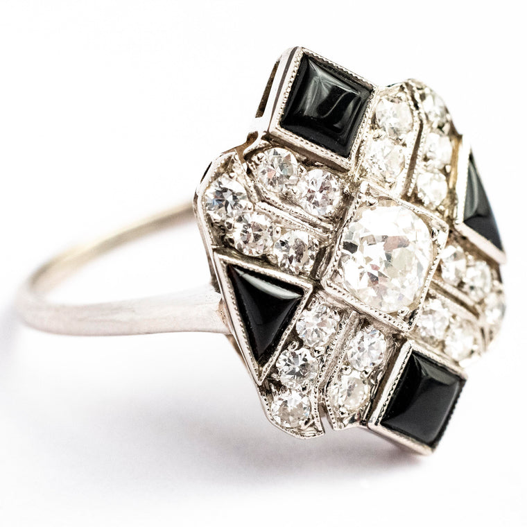 1920's 14kt White Gold Art Deco Diamond and Black Onyx Ring