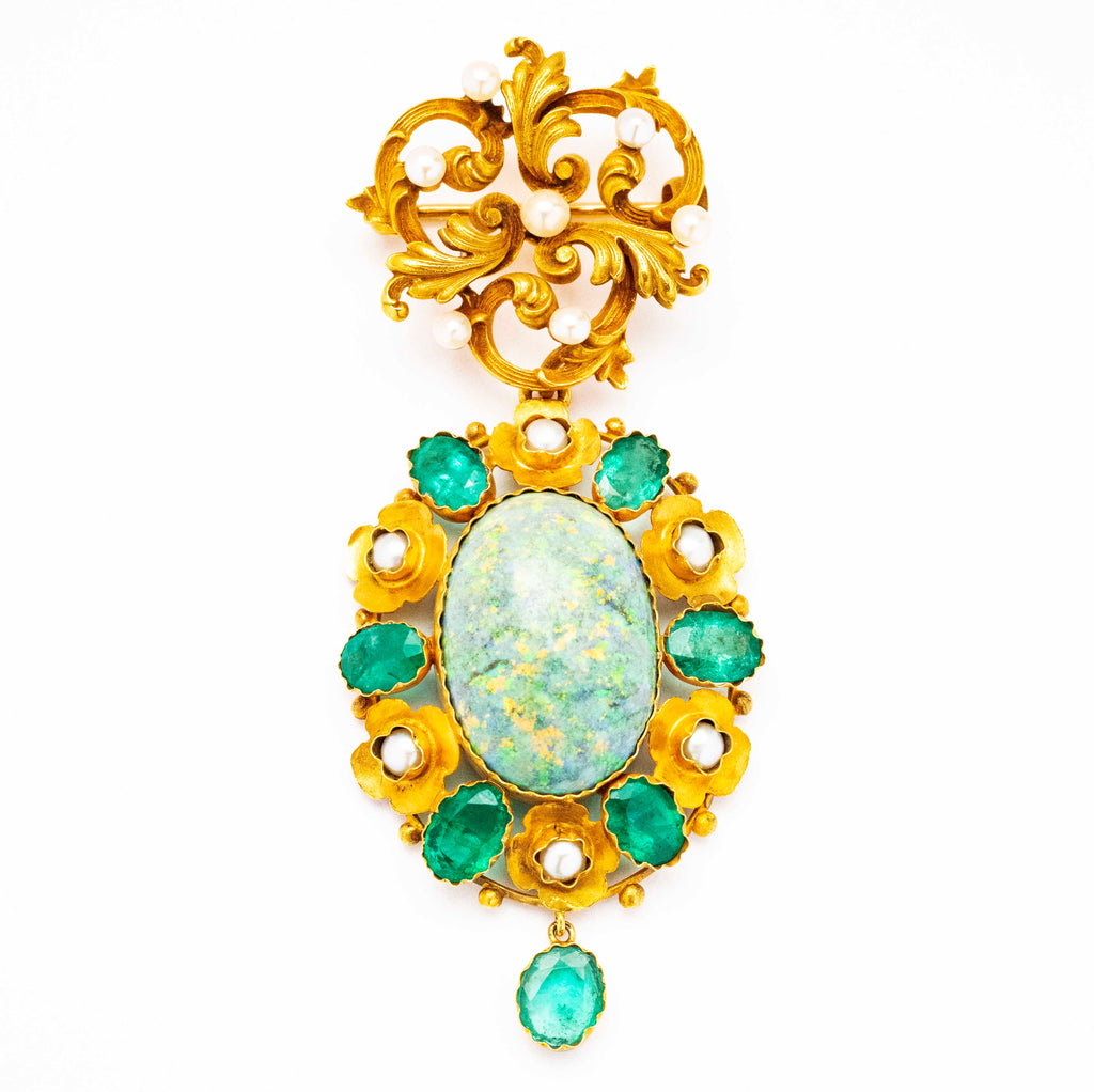 14kt-15kt Emerald and Opal Antique Brooch
