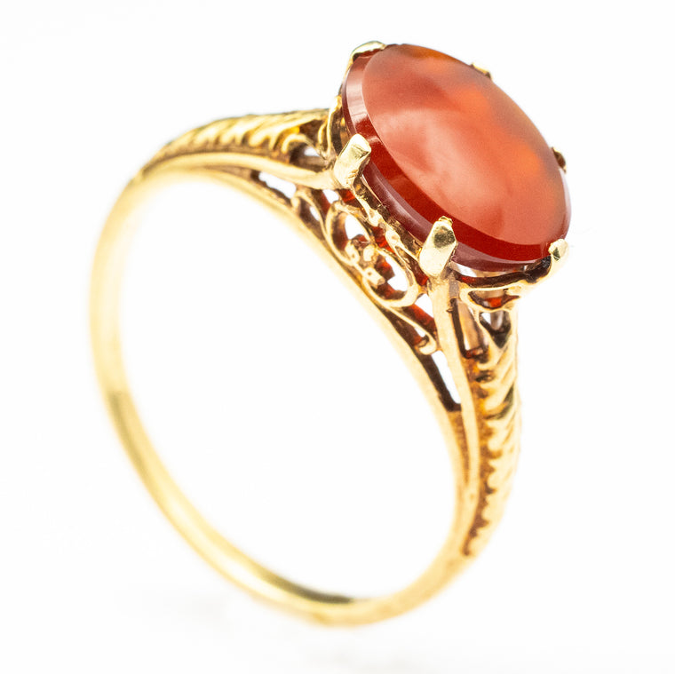 14kt Yellow Gold Filigree Carnelian Ring