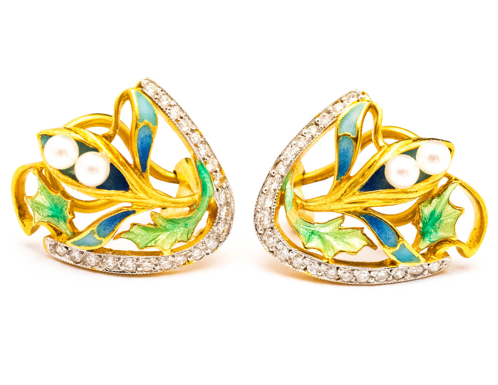 Masriera 18k Yellow Gold Art Nouveau Style Earrings