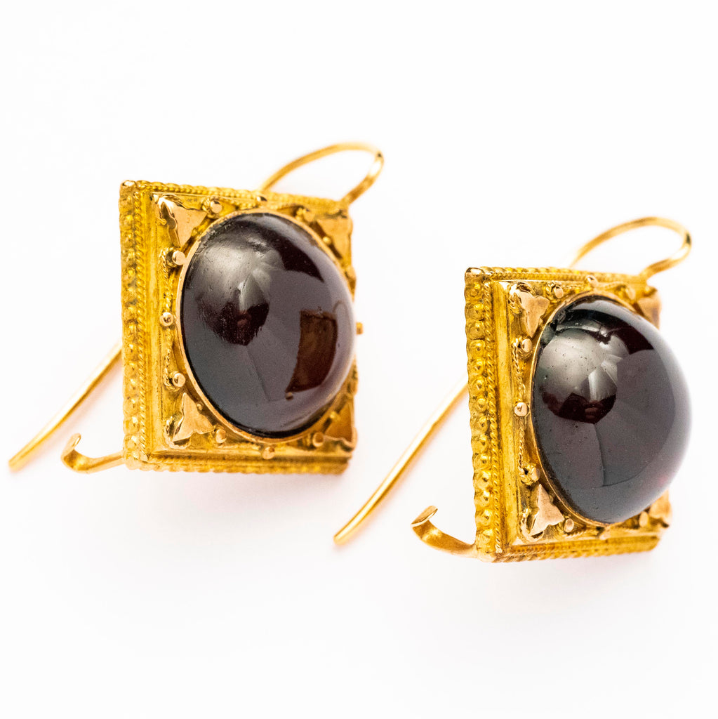14kt Yellow Gold Cabochon Garnet Late Victorian Earrings