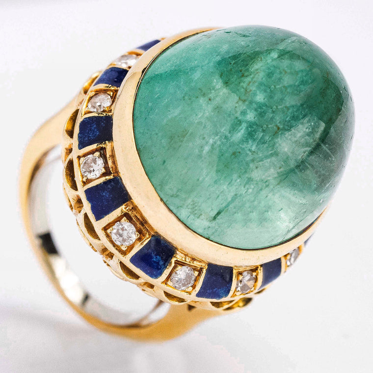 Vintage 14kt Beryl Ring with Diamonds and Blue Enamel