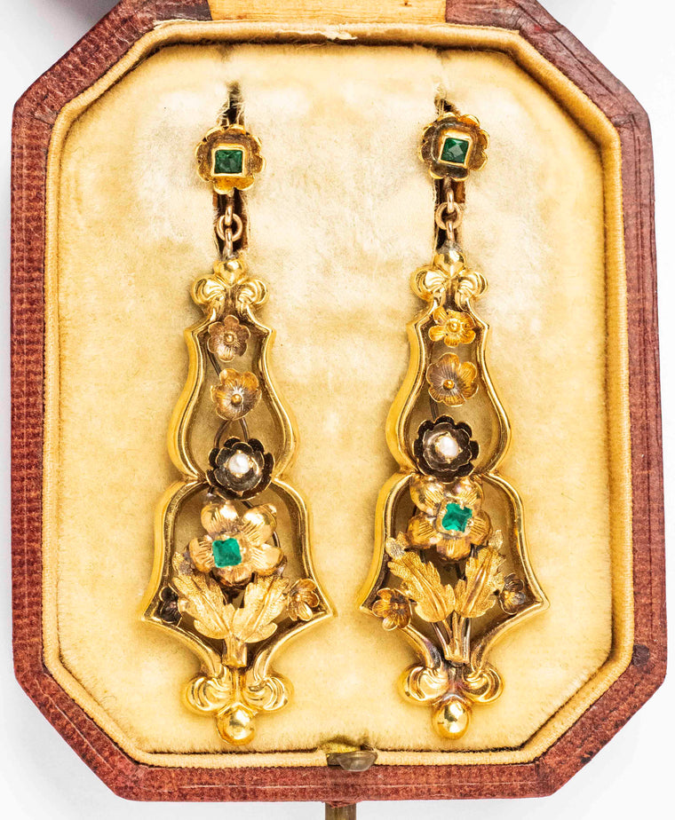 18K Yellow Gold Victorian Emerald and Pearl Drop Earrings