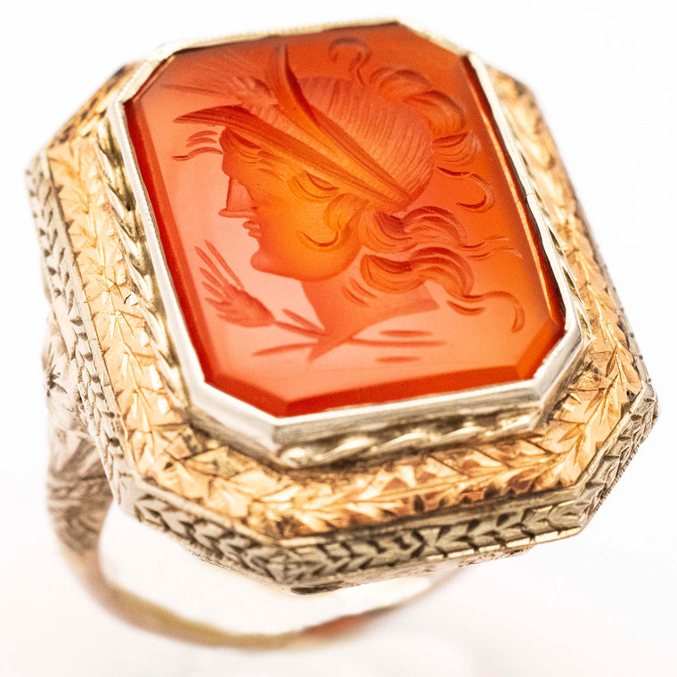 14kt White Gold Filigre Carnelian Intaglio Ring