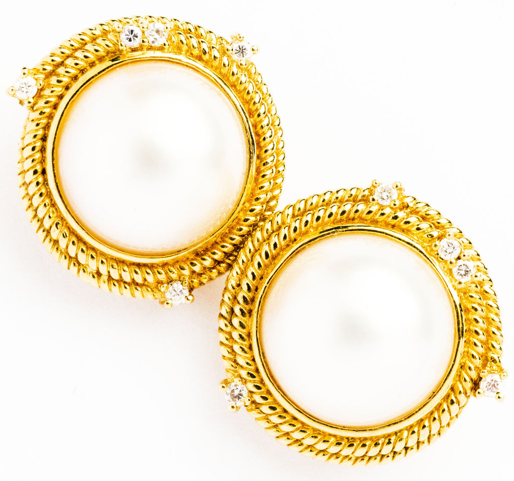 Lady's Mabe Pearl and Diamond Earring Clips