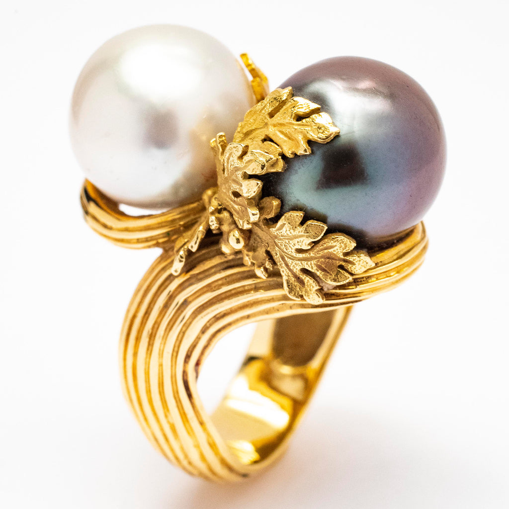 Handmade Custom Designed Black Tahitian and Cultured Pearl Ring