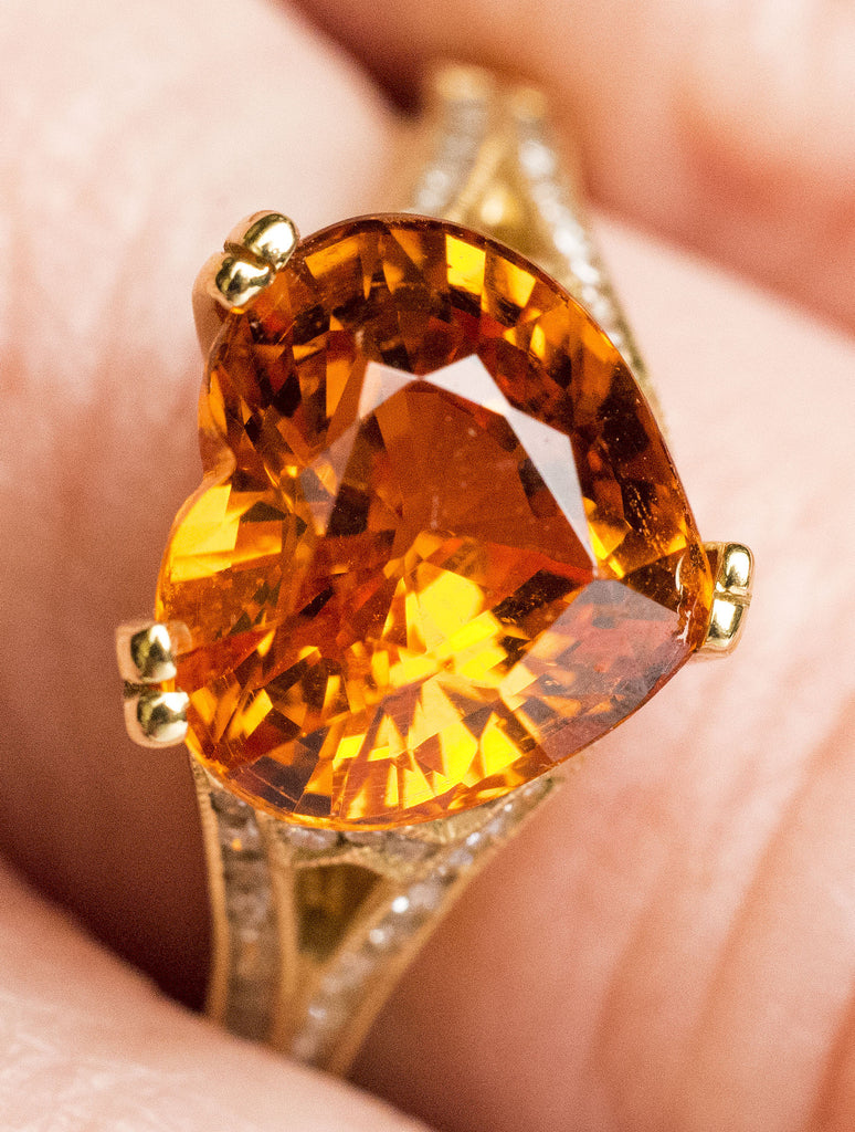One Lady's Heart Shaped Spessartite Ring