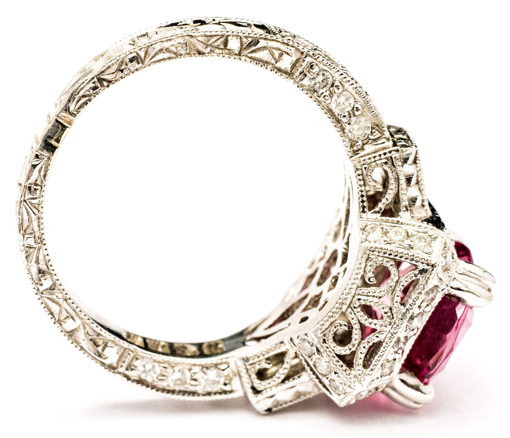 One Lady's Important Pink Sapphire and Diamond Ring
