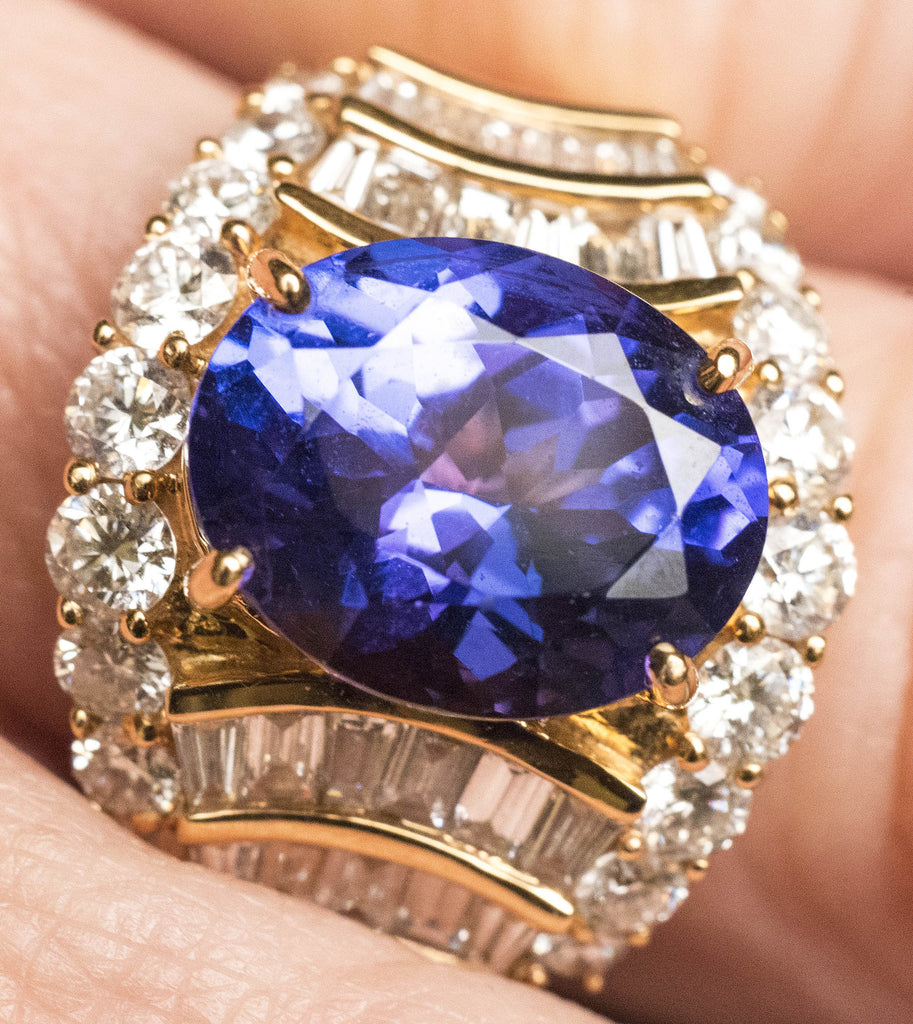 One Lady's Tanzanite and Diamond Ring