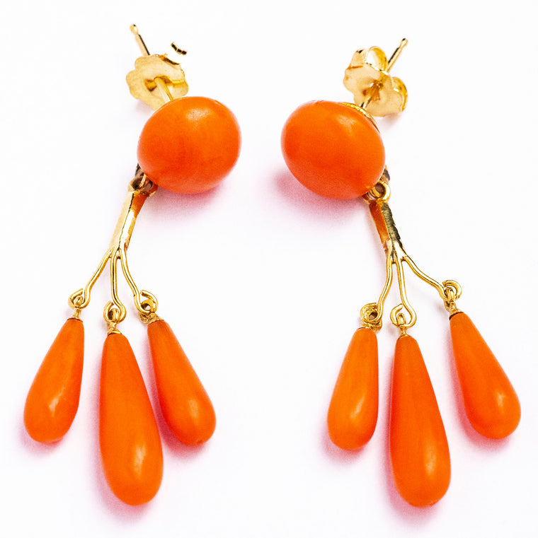 14kt Yellow Gold Antique Victorian Coral Drop Earrings