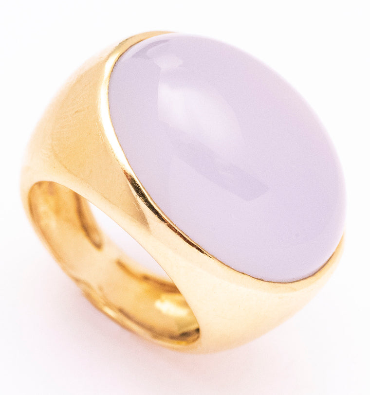 14kt Pale Lavender Chalcedony Statement Ring
