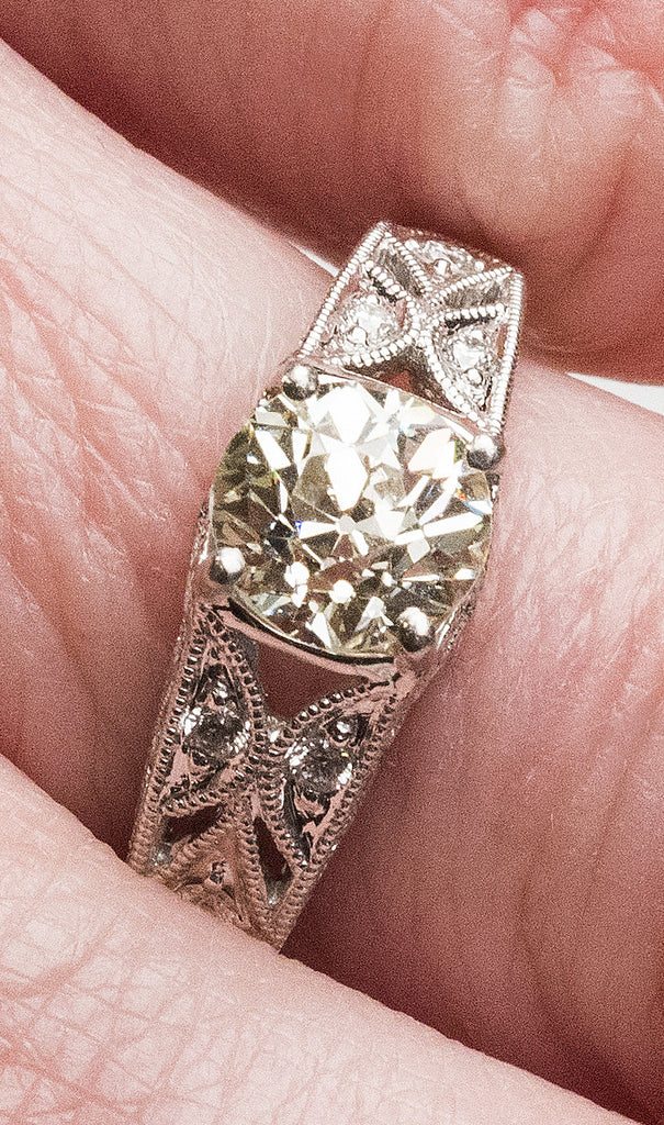 One Lady's Old Mine Cut Diamond Engagement Ring