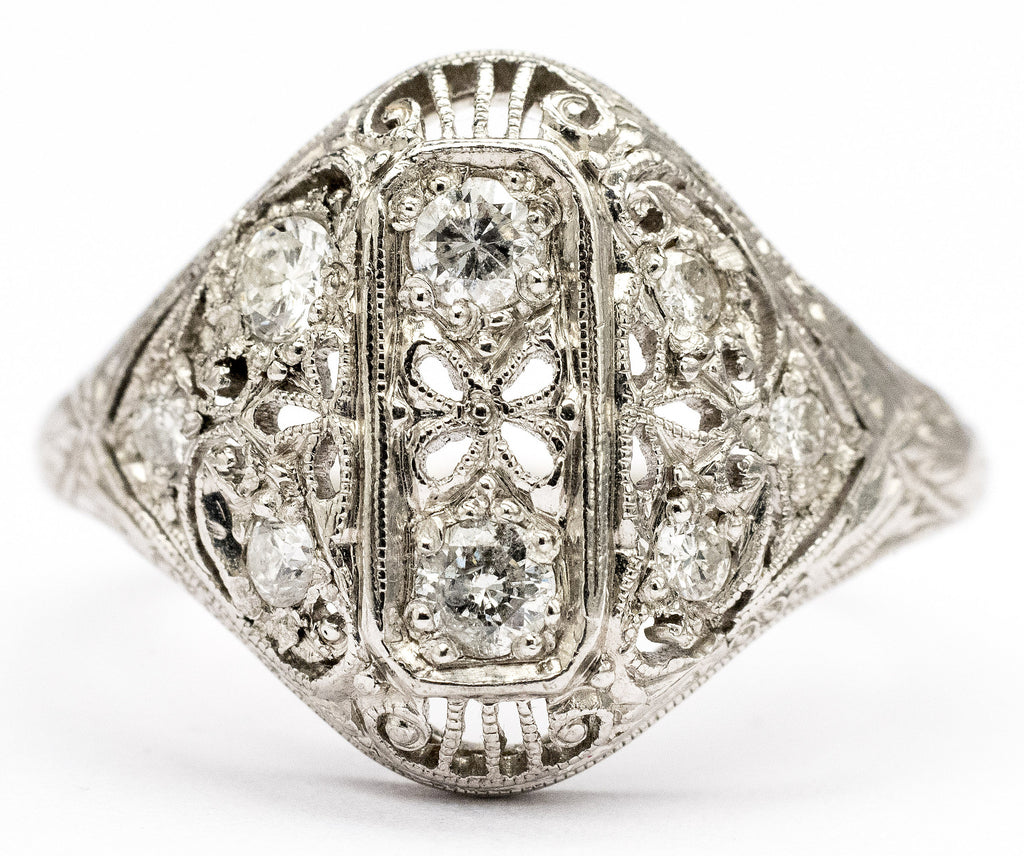 An Exquisite Diamond Deco Filigree Ring Circa 1920