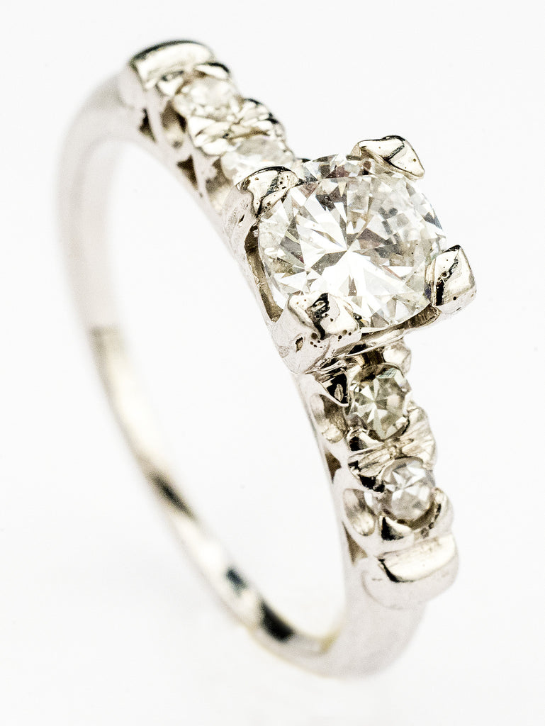 One Lovely Diamond and Platinum Engagement Ring Circa 1950
