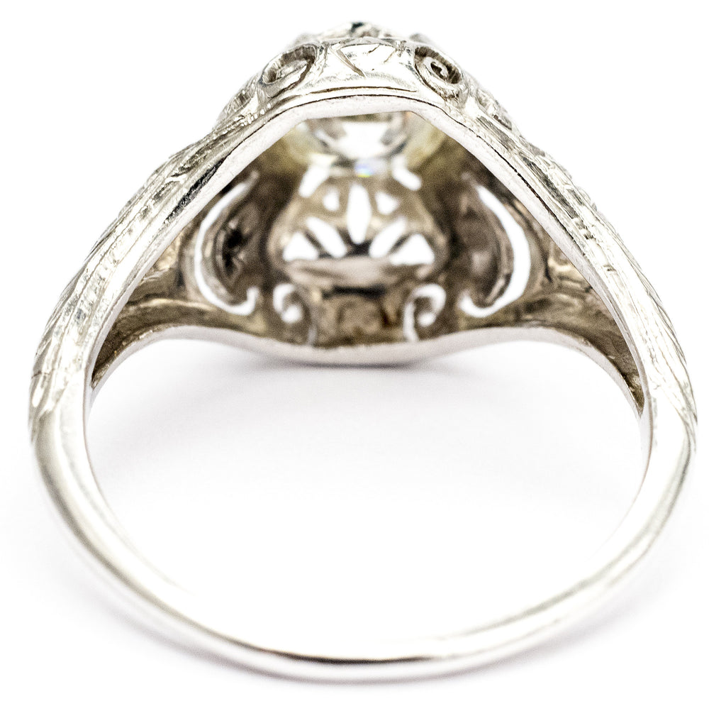 Lady's Elaborate Filigree Diamond Engagement Ring, Circa 1920