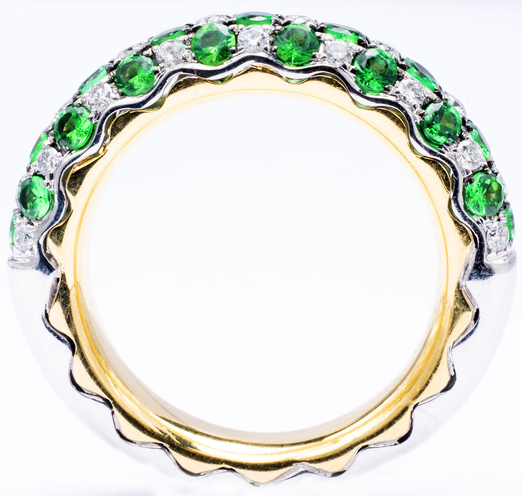 One Stunning Diamond and Tsavorite Band