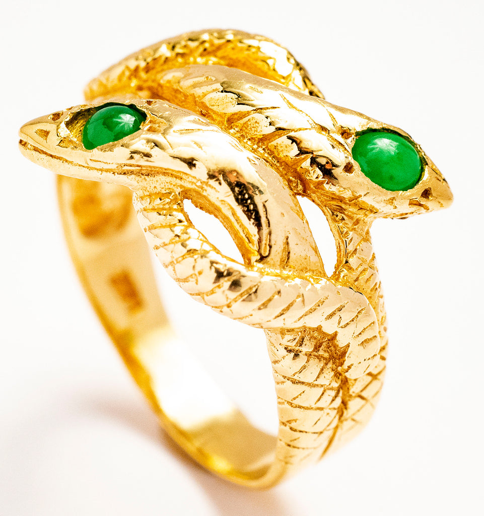 14kt Yellow Gold Double Head Snake Ring