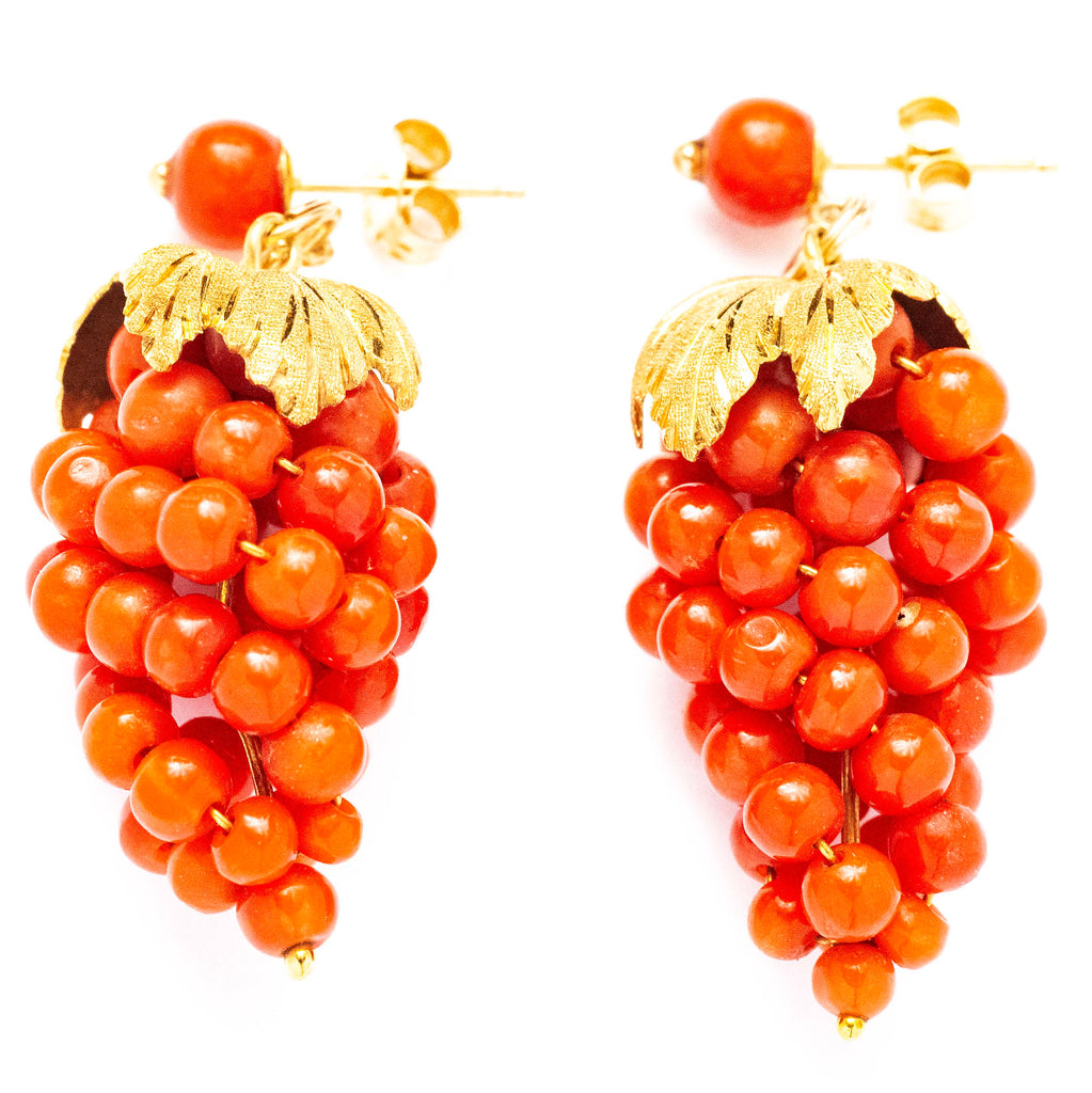 14kt Victorian Yellow Gold Coral Grape Earrings