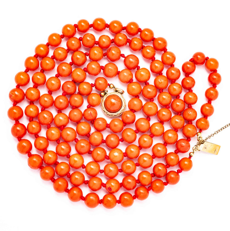 14kt Antique Double Strand Coral Necklace