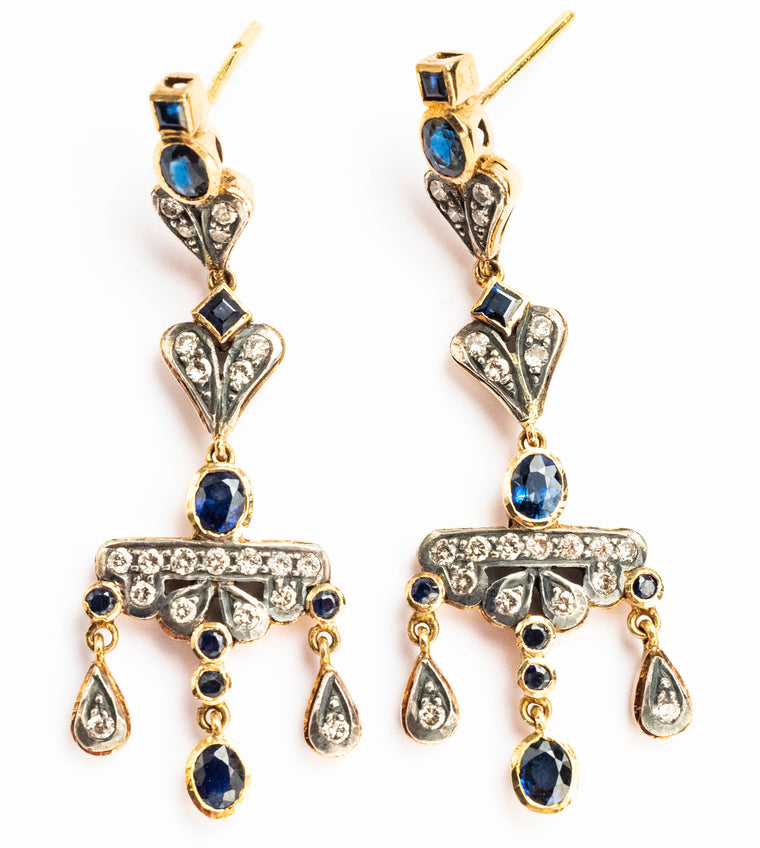 Antique Style Sapphire and Diamond Earrings