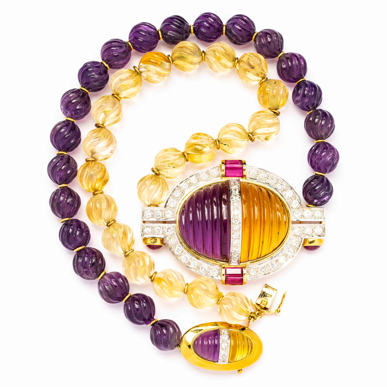18kt Yellow Gold Carved Amethyst and Citrine Necklace