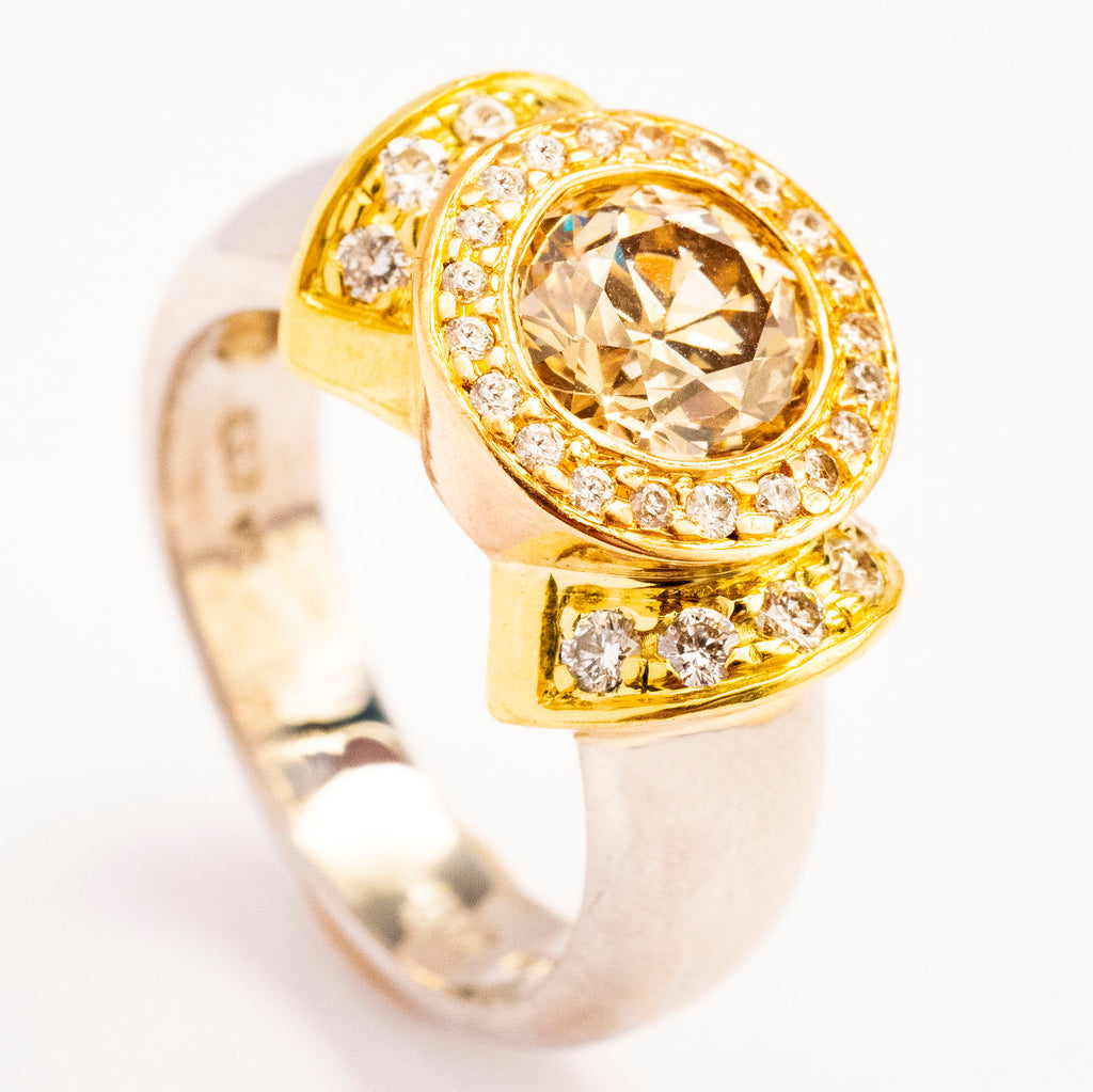 Chris Correia Platinum and 18kt Yellow Gold Diamond Ring