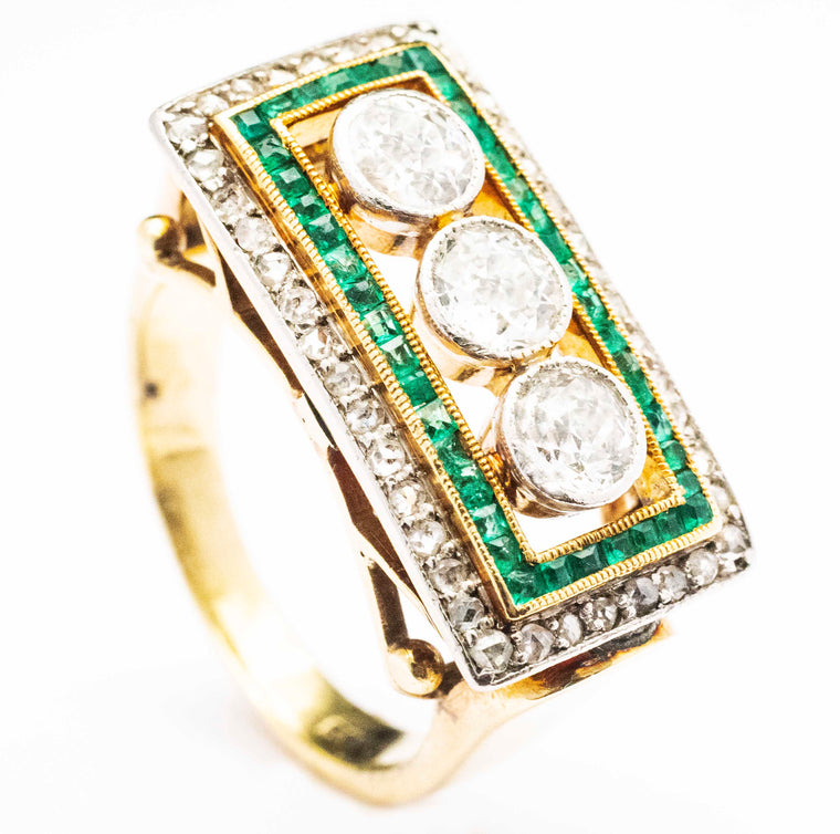 14kt Yellow Gold and Platinum Antique Ring with Diamonds and Emeralds