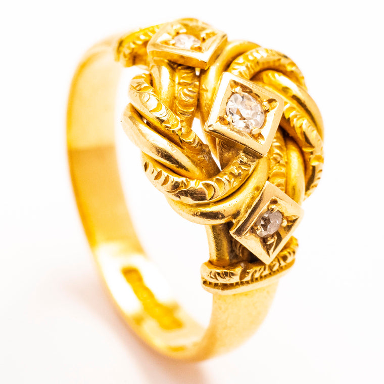 18kt English Edwardian Knot Ring with Diamonds