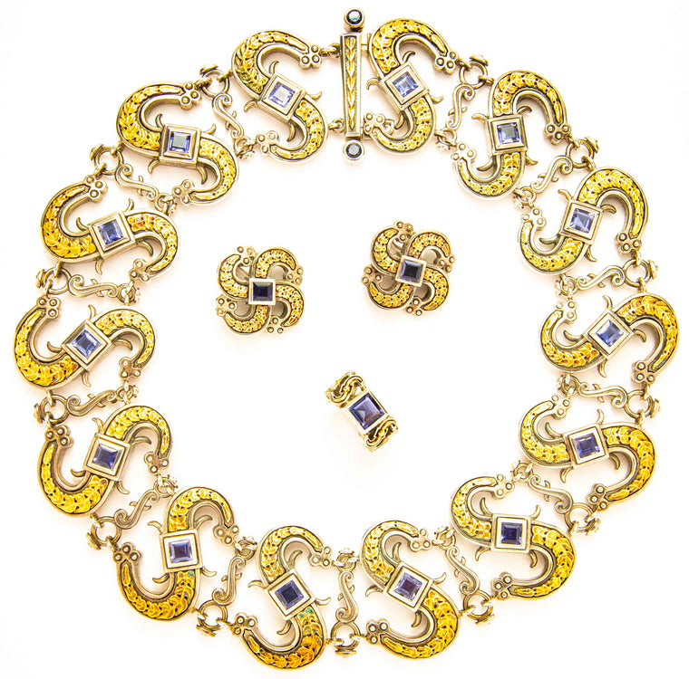 Substantial Four Piece Set by Mitchell Peck in Sterling and 18kt Yellow Gold
