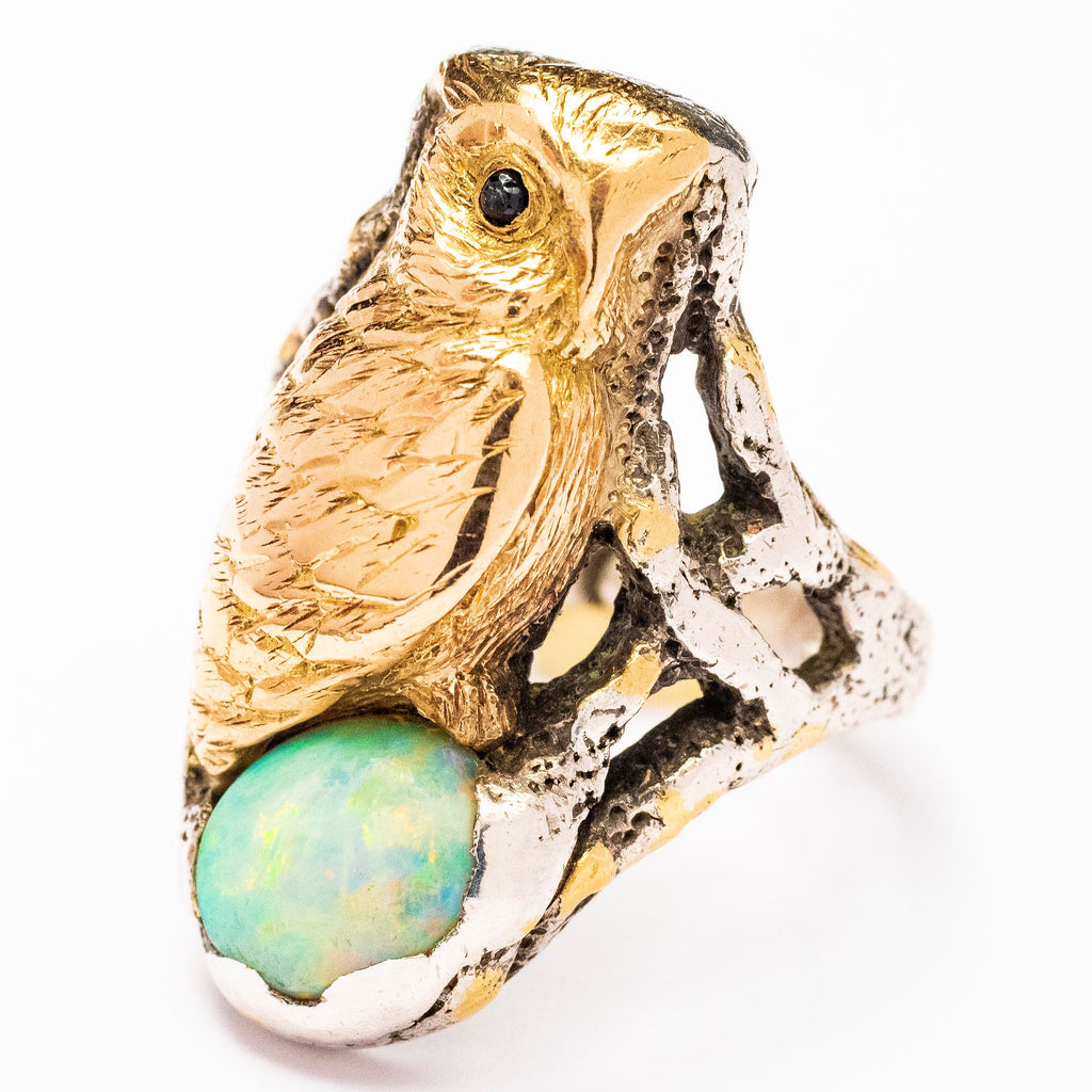 Carl Schon Sterling and 14kt Yellow Gold Opal Owl Ring
