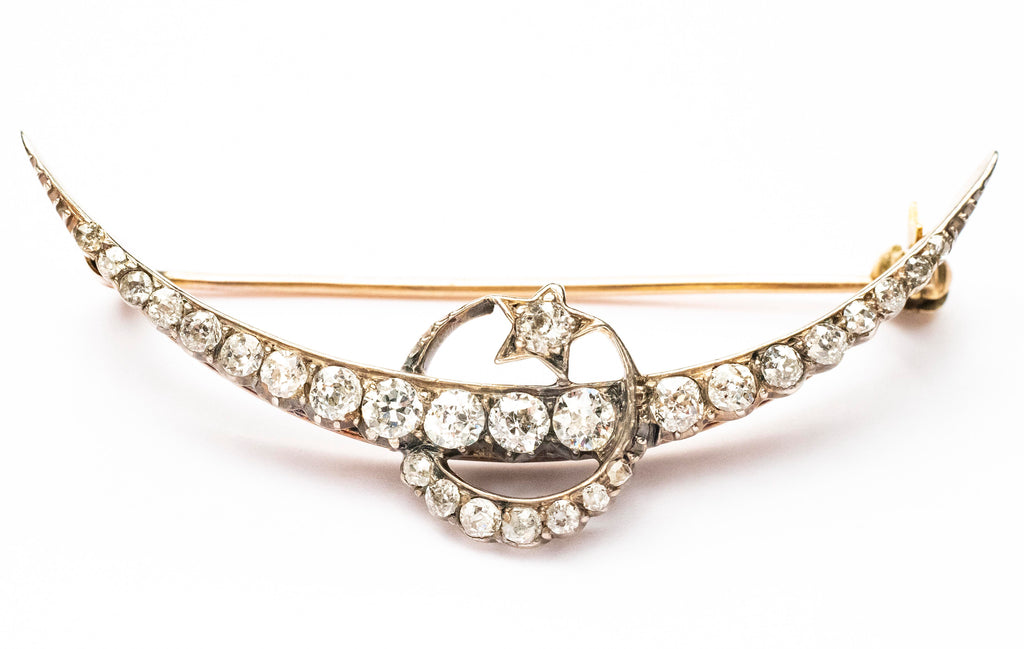 Old Mine Cut Diamond Crescent Brooch