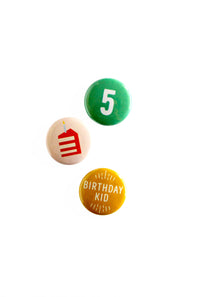 birthday buttons - Hip Hip Party Goods