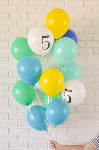 blue, mint green, turquoise balloons