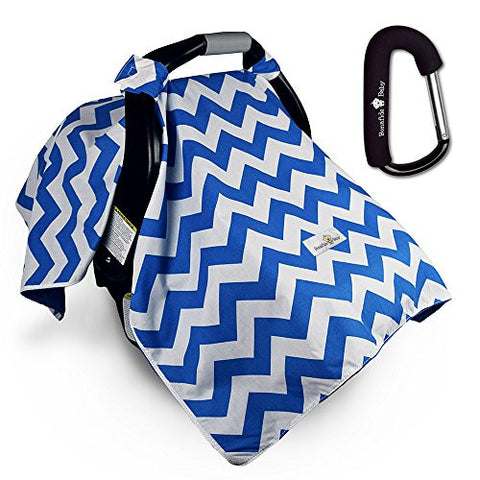 Bonafide Baby Car Seat Covers With Free Stroller Hook - Blue Chevron For Boys With Soft Plush Backing